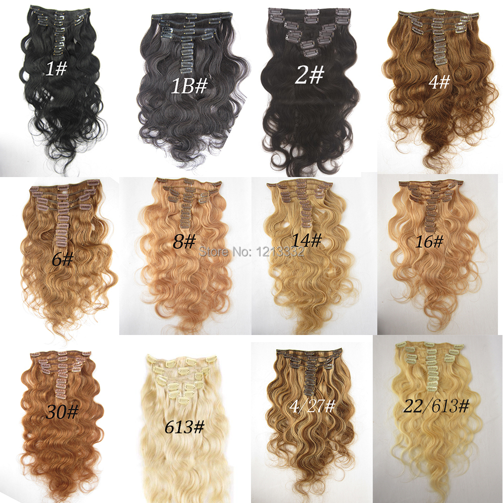 Hot Queen Human Hair Weft Brazilian Body Wavy Clip In Hair Extension