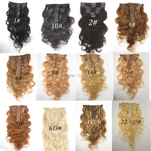 "Hot Queen Human Hair Weft Brazilian Body Wavy Clip In Hair Extension One Piece Remy Hair Weaves 16""-28"" Mixed Length"
