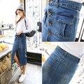 As mulheres Saia Lápis 2016 Coreano Casual Bolso Magro Cintura Alta Denim Saia Jeans Saia Do Vintage Saia Longa Saia Midi B97
