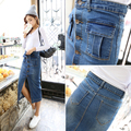 Women Pencil Skirt 2016 Korean Casual Pocket Slim High Waist Denim Skirt Blue Jeans Skirt Vintage Long Skirt Saia Midi B97