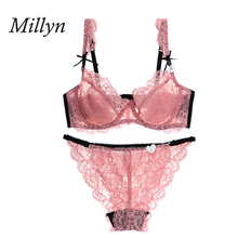 MILLYN hot sexy lace thin bra set plus size underwear ultra-thin erotic and briefs