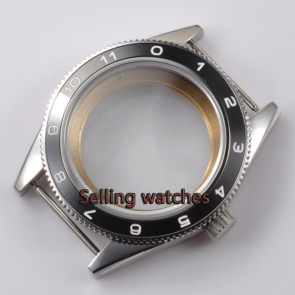 лучшая цена 41mm black ceramic bezel sapphire glass Watch Case fit ETA 2824 2836 MOVEMENT
