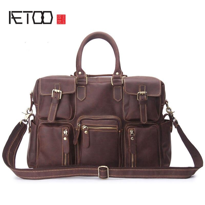 AETOO Men Business Briefcase Genuine Leather Handbag Computer Bag Retro Mad Cow Leather Shoulder Bag aetoo men s retro men s genuine leather cowhide shoulder bag business briefcase briefcase