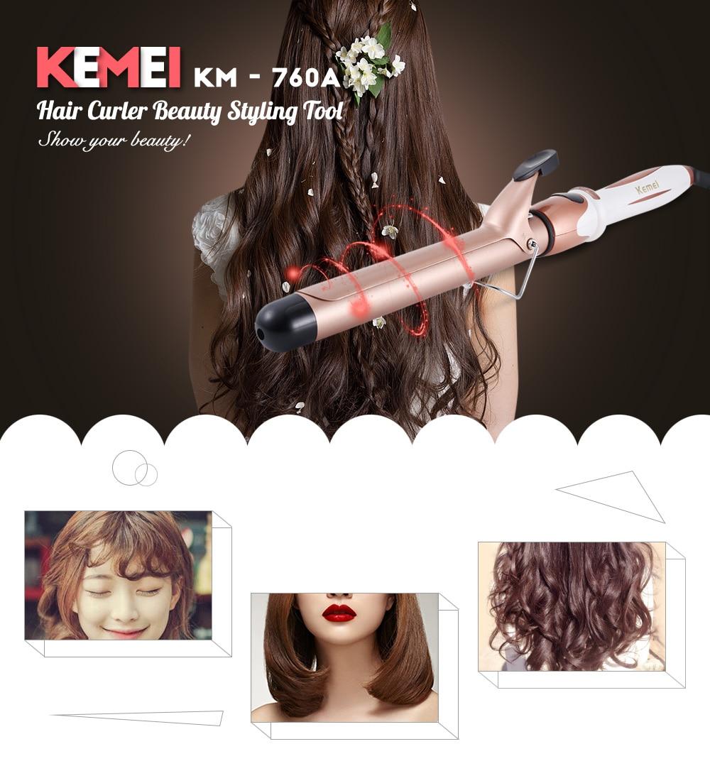 Kemei KM-760A Modelador de Cabelo de Ondulação Varinha Beleza Pontas, cabelo, cabelo alipearl, isee feixes de cabelo Elétrico Cerâmica Curling