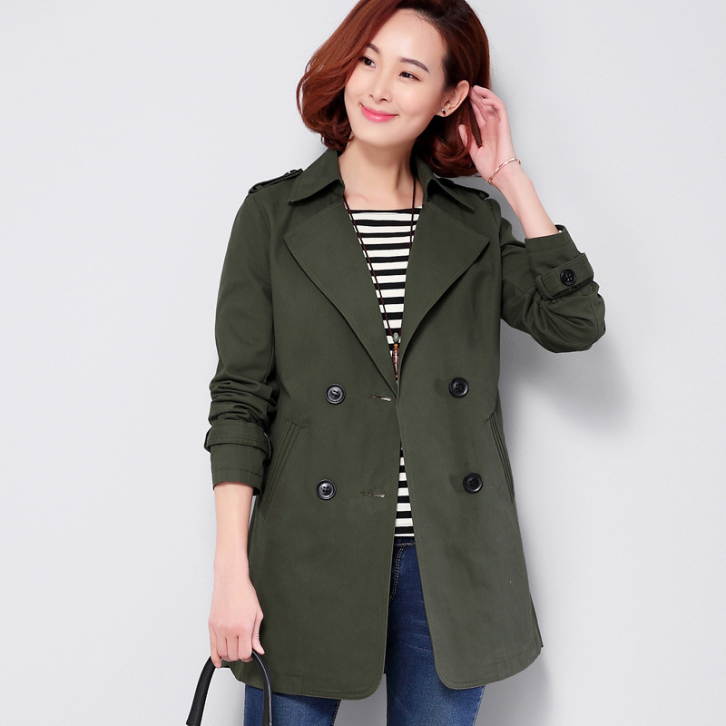 100% cotton trench coat women middle age plus size M-4XL windbreaker double breasted fashion spring new 2018 style female coats