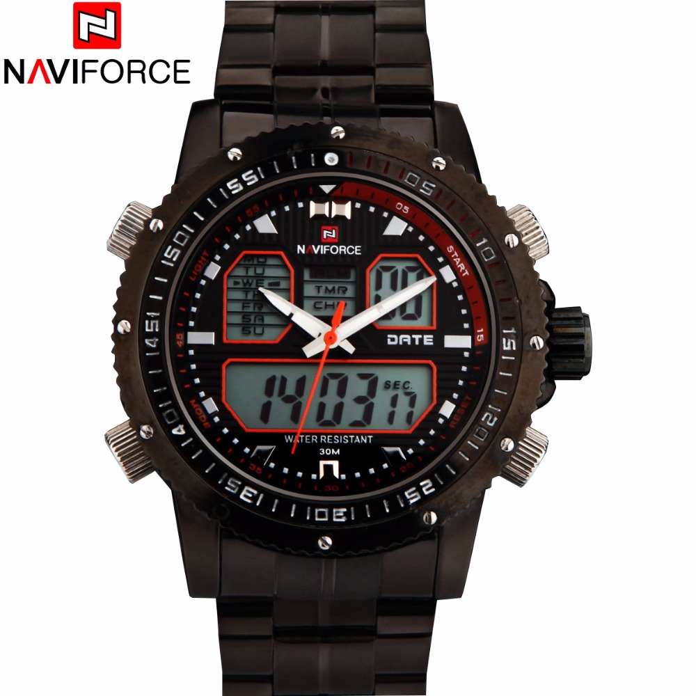 NAVIFORCE Brand Mens Military Sport Watch Men 30M Waterproof Quartz Watches Stainless Steel Analog LED Clock Relogio Masculino weide casual genuine watch luxury brand quartz sport watches stainless steel analog men larm clock relogio masculino schocker