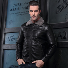 Men's pigskin bike actual leather-based jacket Genuine Leather jackets padding cotton Autumn winter heat coat males Lapel lint