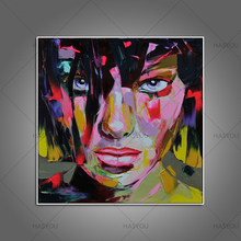 100% handmade Palette knife oil painting portrait Face Oil on canvas wall art picture for room decortion