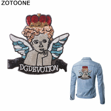 ZOTOONE Sequined Angel Back Patches for Clothing Large Embroidered Patch Stickers on Clothes Decorations Iron Appliques