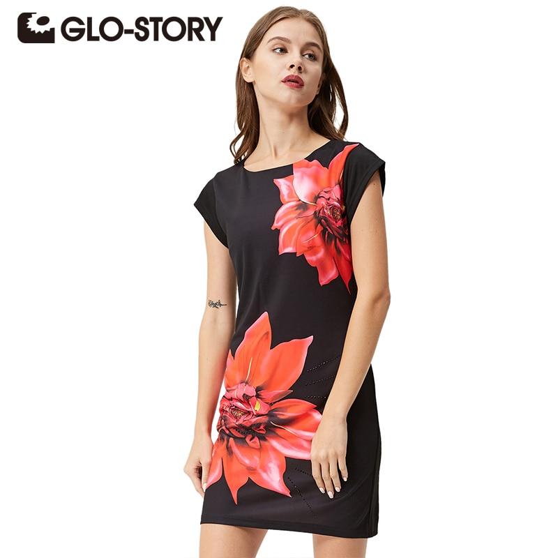 GLO-STORY Womens 2018 Ամառային անքուն Նորաձևություն Ծաղկային զգեստներ Կանացի խաղողի բերքահավաք սև մինի զգեստով զամբյուղով ՝ սև WYQ-2621