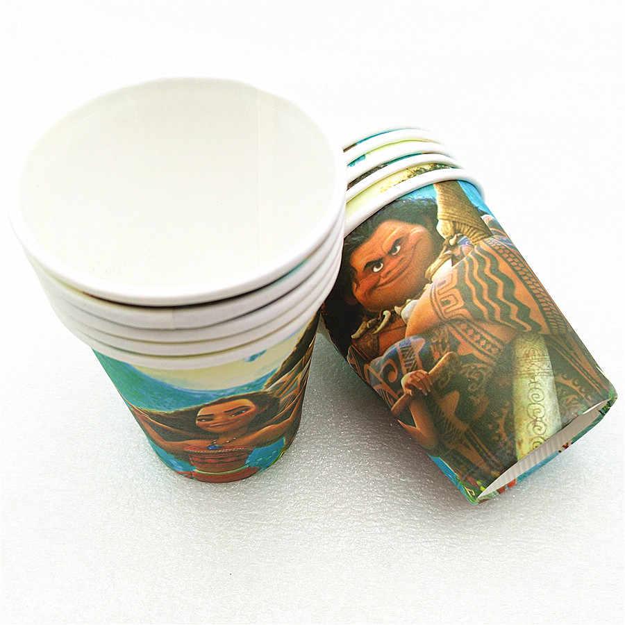 10 pçs/lote desenhos animados moana festa suprimentos tema copos de papel descartáveis utensílios de mesa decorações de aniversário chá de bebê para crianças menina menino