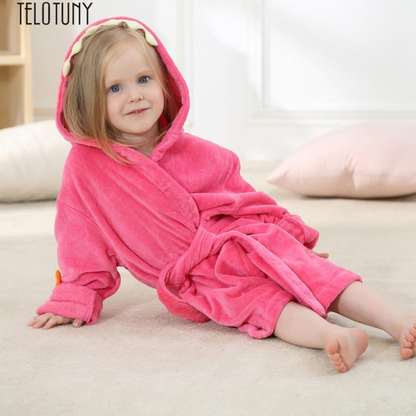 TELOTUNY Baby Boys Girls soft cartton sleepwear Kids Bathrobe Cartoon Dinosaur Hooded Towel Pajamas Clothes JXM Z0830