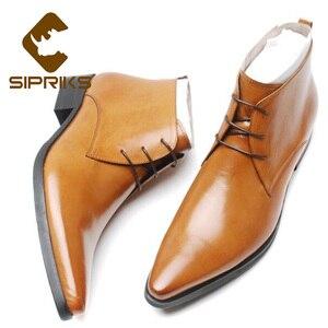 Sipriks/ботинки из натуральной кожи; Мужская официальная обувь в стиле дерби; Ботинки с острым носком в английском и французском стиле; Элегант...
