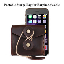 Portable Storge Bag Earphone HeadphonesLeather Case Data cable charger Bag Earbus Pouch brown color