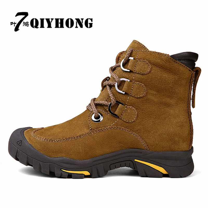 QIHONG 2017 Men Boots For Russian, First Layer Cow Leather Shoes Man, Winter Snow Ankle Boots, Safety Boots Men  Size 38-49 serene handmade winter warm socks boots fashion british style leather retro tooling ankle men shoes size38 44 snow male footwear