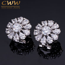 CWWZircons AAA+ Sparkling White CZ Big Round French Clip Stud Summer Flower Earrings For Women Zirconia Jewelry CZ334(China)