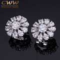 AAA+ Sparkling White CZ Simulated Diamond Big Round Stud Summer Flower Earrings For Women Silver Plated Zirconia Jewelry CZ334
