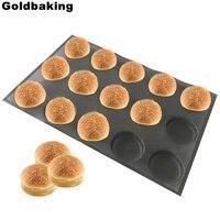 Goldbaking силиконовые Булочки Хлеб формы антипригарным выпечки простыни Детские перфорированные формы для гамбургера Muffin Пан лоток