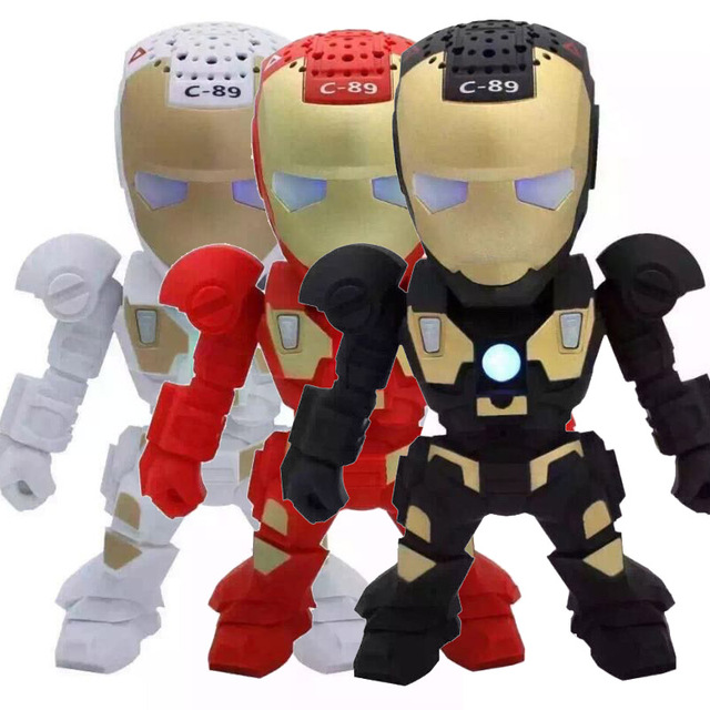 Bluetooth LED Speaker Mini Portable Sound Box Stereo Hifi Speakers Cartoon Iron Man Supports FM Radio TF USB Card Mic Aux for PC
