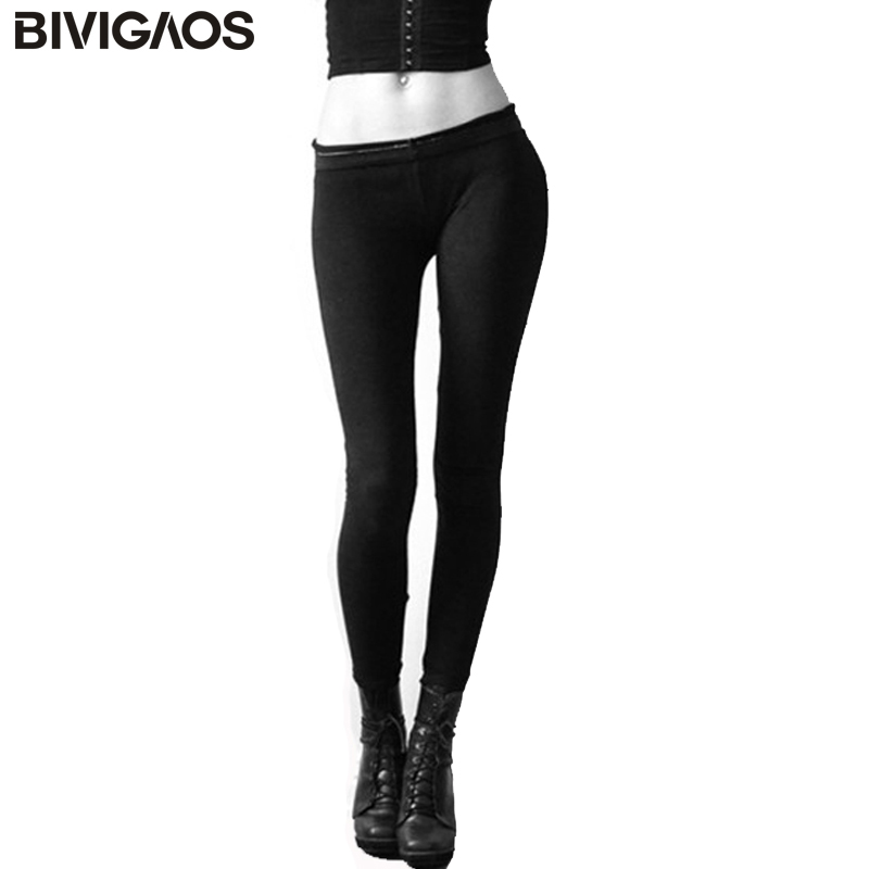 BIVIGAOS Fall Womens High Quality Elastic Solid Color Cotton Cashmere Sanding Warm   Leggings   Black Slim Pants   Leggings   Trousers