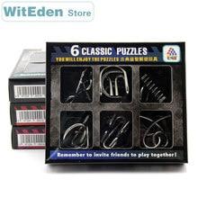 цена на 3D Metal Wire Puzzles 6PCS/Sets Intelligence Buckle Classic Knot 9 Ring Interlocking IQ Brain Teaser Antistress Toys For Kids