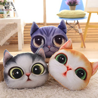 BOLAFYNIA Children Plush Stuffed Toy Simulation 3D Cat Face Pillow Baby Kids Toy For Christmas Birthday