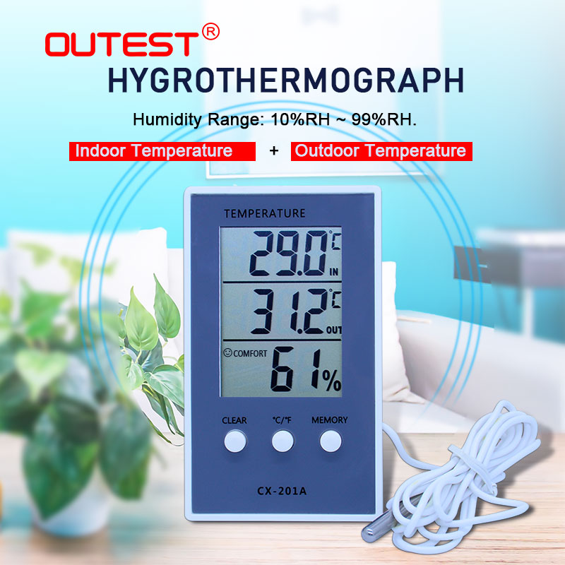 FREE SHIPPING Digital Hygrometer Indoor/Outdoor Fish Tank Temperature Humidity Thermometer Barometer