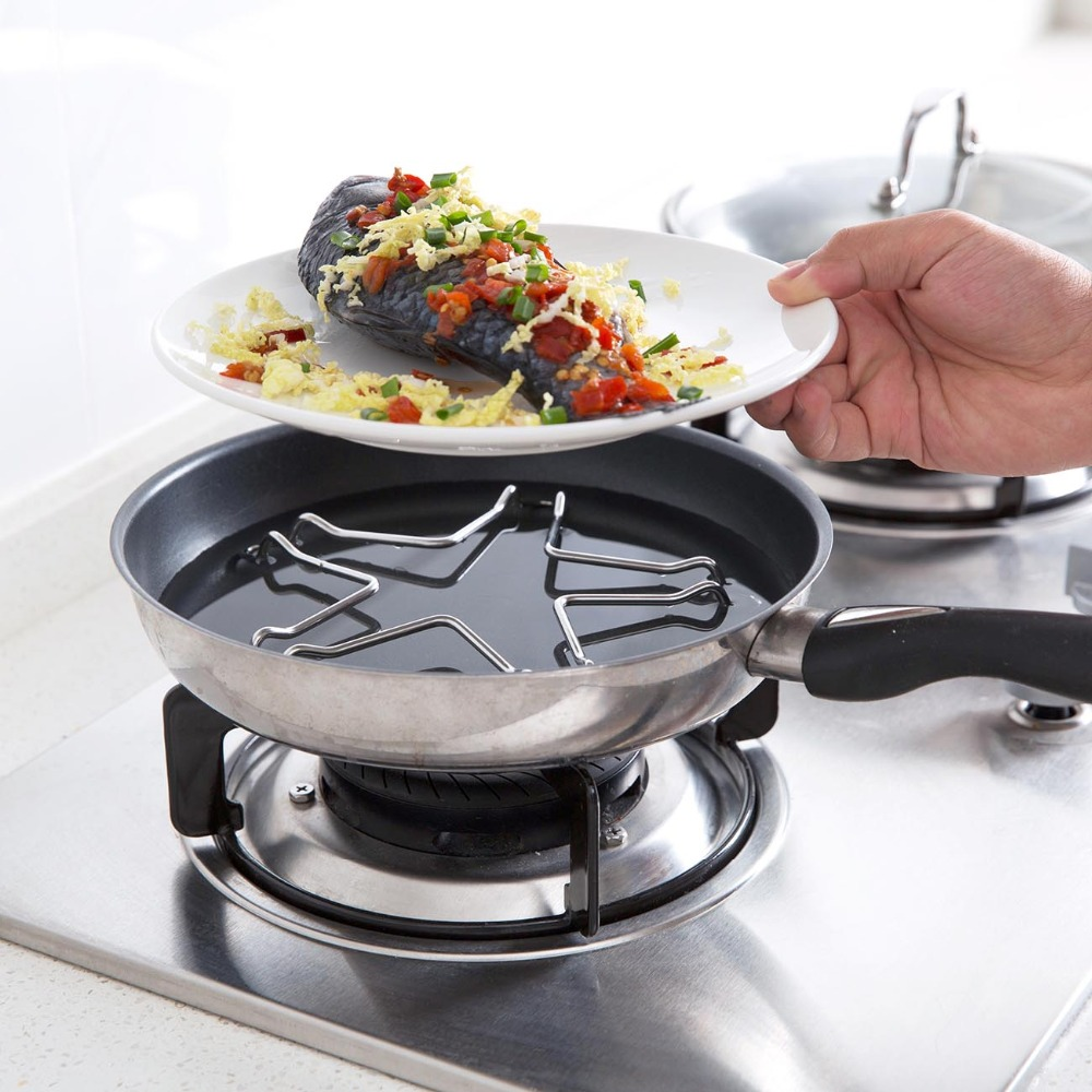 Pentagonal Stainless Steel Steamed Rack Shelf Water Steamer Kitchen Multi-function Pot Cooking Steaming Food Rack