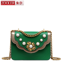 ZOOLER Brand Genuine Leather Bags Women Crocodile Pattern Leather Shoulder Bag Evening Clutch Wallet Purse Chain