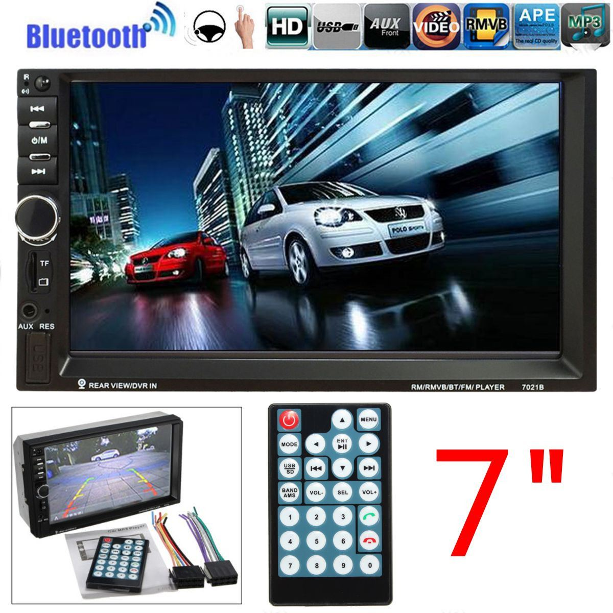 ФОТО Double Din Car Video Player 7 Inch HD Touch Screen Bluetooth Radio Audio Stereo MP5 Player Support AUX FM USB MMC Remote Control