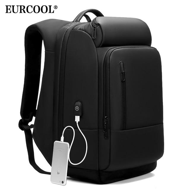 EURCOOL 17 polegada Laptop Backpack Para Homens Repelente De Água Funcional Mochila com USB Porto De Carregamento de Viagem Mochilas Masculino n1755