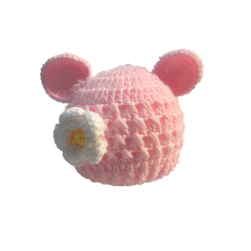 Free shipping Newborns without eaves beanie adorable hand-made by the fashion hat merino wool girls flowers