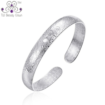 Real Solid 999 Pure Silver Heavy Big Adjustable Chinese Dragon and Phoenix Open Cuff Bangle For Women Mother Fashion Jewelry
