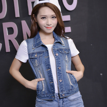 2017 Denim Vest Women Sleeveless New 2016 Autumn Ripped Holes Button Fashion Jeans Vest Tops