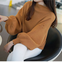 In The Spring Of 2017 New Korean Color Thin Sweater Bat Sleeve Loose Turtleneck Sweater Female