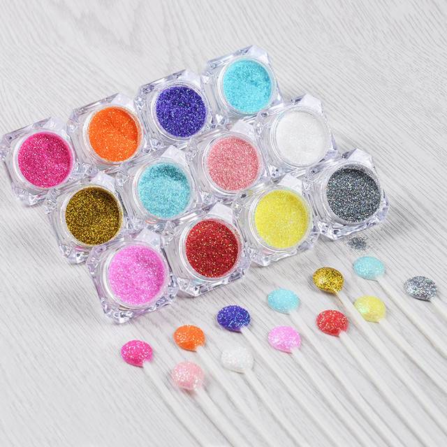 12pc/set Hot Sale Shinning Nail Glitter Powder Gorgeous Nail Art Chrome Pigment Glitters 12 Different Colors