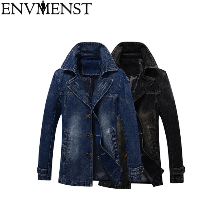 Men's Denim Long Jackets 2018 New Men Fashion Jacket Coats Clothing Autumn Male Zipper Pocket Casual Outwear