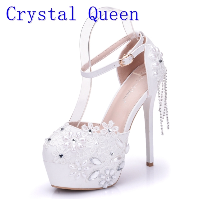 Crystal Queen Sandals 14CM High Heels Women Pumps Sexy Style Buckle Strap  White Lace Pearl Tassel Fower Wedding Shoes Summer 57ceac75f82e