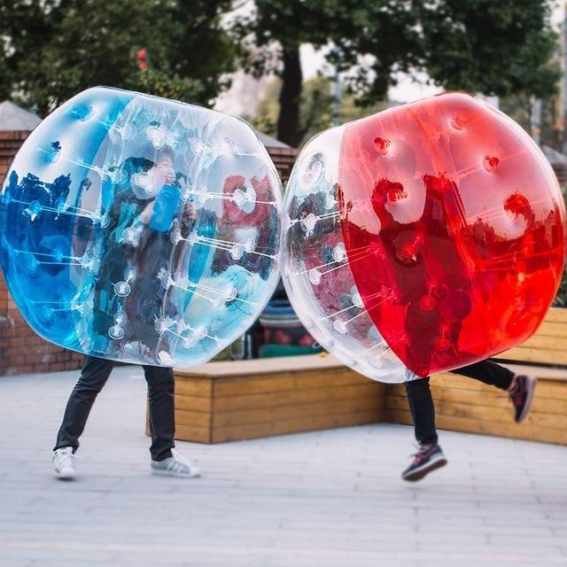 0.08 มม.TPU พอง Zorb Ball 1m 1.2m 1.5m 1.7 M ฟองลูกฟุตบอล Air ลูกกันชน bubble ฟุตบอลสำหรับผู้ใหญ่หรือเด็ก
