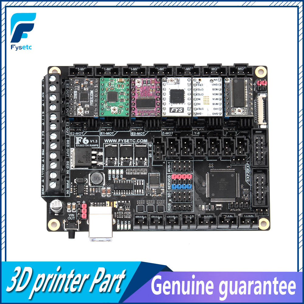 FYSETC F6 V1.3 Bordo ALL-in-one Electronics Soluzione Mainboard + 6 pz TMC2100/TMC2208/TMC2130 /DRV8825/S109/LV8729/A4988/ST820