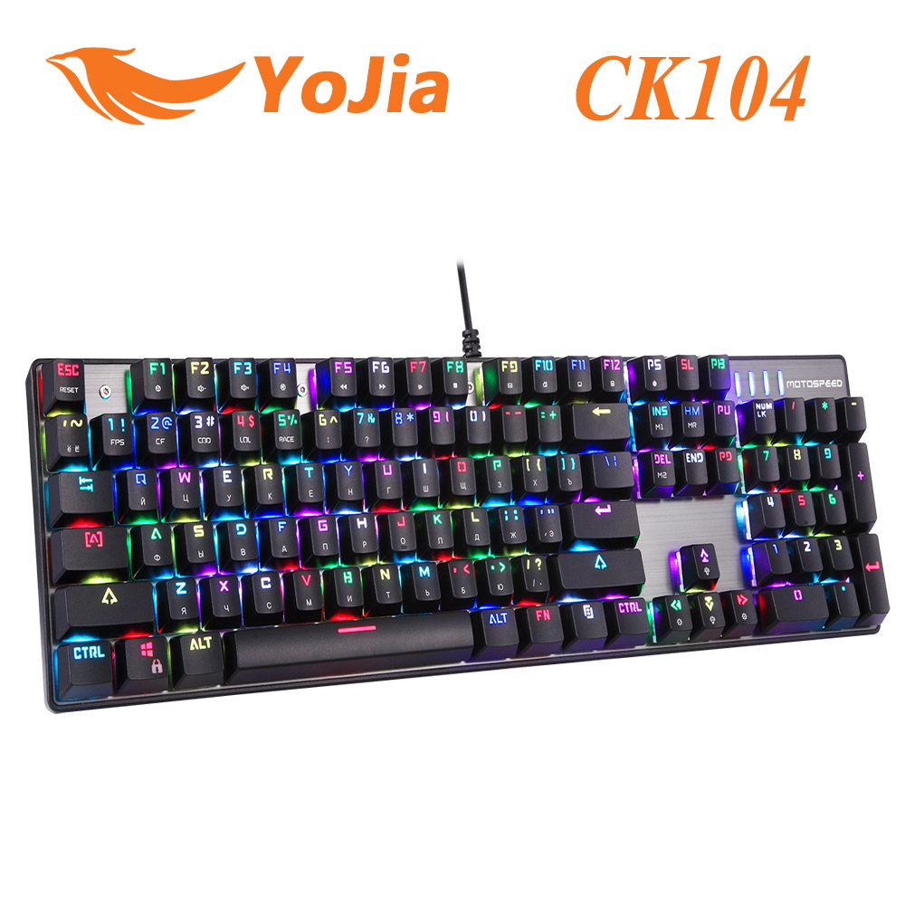 Original Motospeed CK104 Gaming Wired Mechanical Keyboard Metal 104 Keys RGB Switch LED Backlit Anti-Ghosting for Gamer Computer