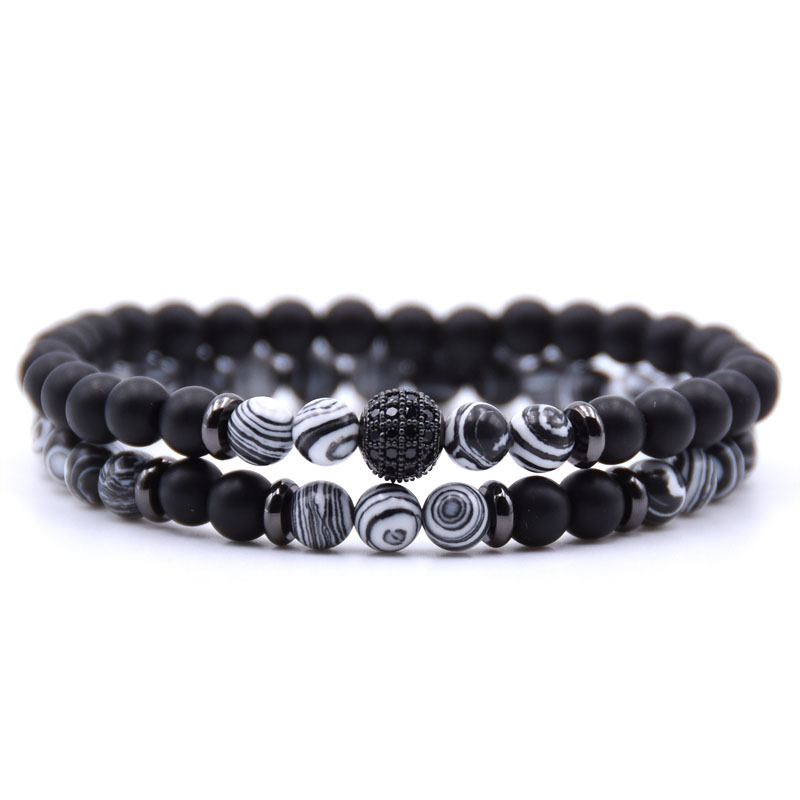 72bd1c9ca04 2pc/sets Natural Stone Elastic Bracelet Micro Pave CZ 8mm Disco Ball Matte  Charms Beads Bracelets for Women Men Yoga Jewelry-in Charm Bracelets from  Jewelry ...