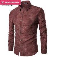 2016 Autumn Trend Mens Dress Shirts Men Red Dot Slim Fit Long Sleeve Shirt For Men