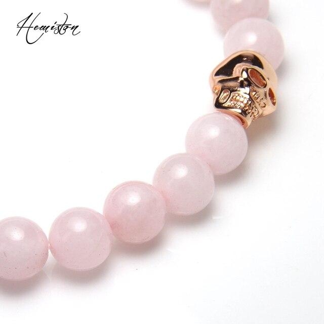 Фото томас 8 мм розовый камень бисера и розовое золото череп эластичный