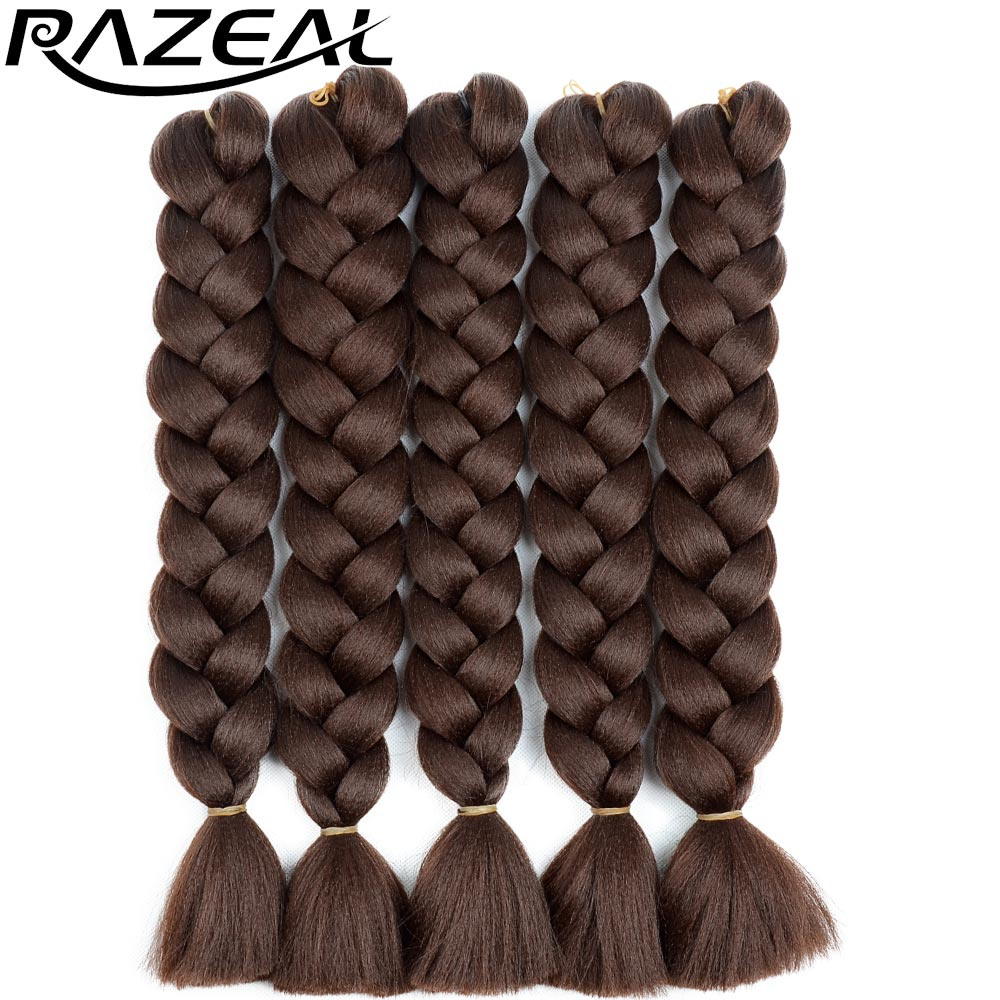 Razeal 24 5pcs/lot Pure Color Synthetic Braiding Hair Jumbo Braid Hair High Temperature Crochet Braids Hairstyles Good Companions For Children As Well As Adults Hair Braids
