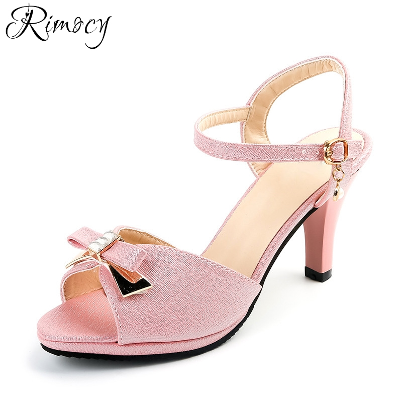 Rimocy sexy peep toe thin high heels sandals women 2017 plus size 34-43 pink gold ankle strap party wedding pumps shoes woman zorssar brand 2017 high quality sexy summer womens sandals peep toe high heels ladies wedding party shoes plus size 34 43