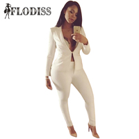 Women Slim White Pants Suits 2016 New Fall Fashion Long Sleeve One Button Suits And Pants