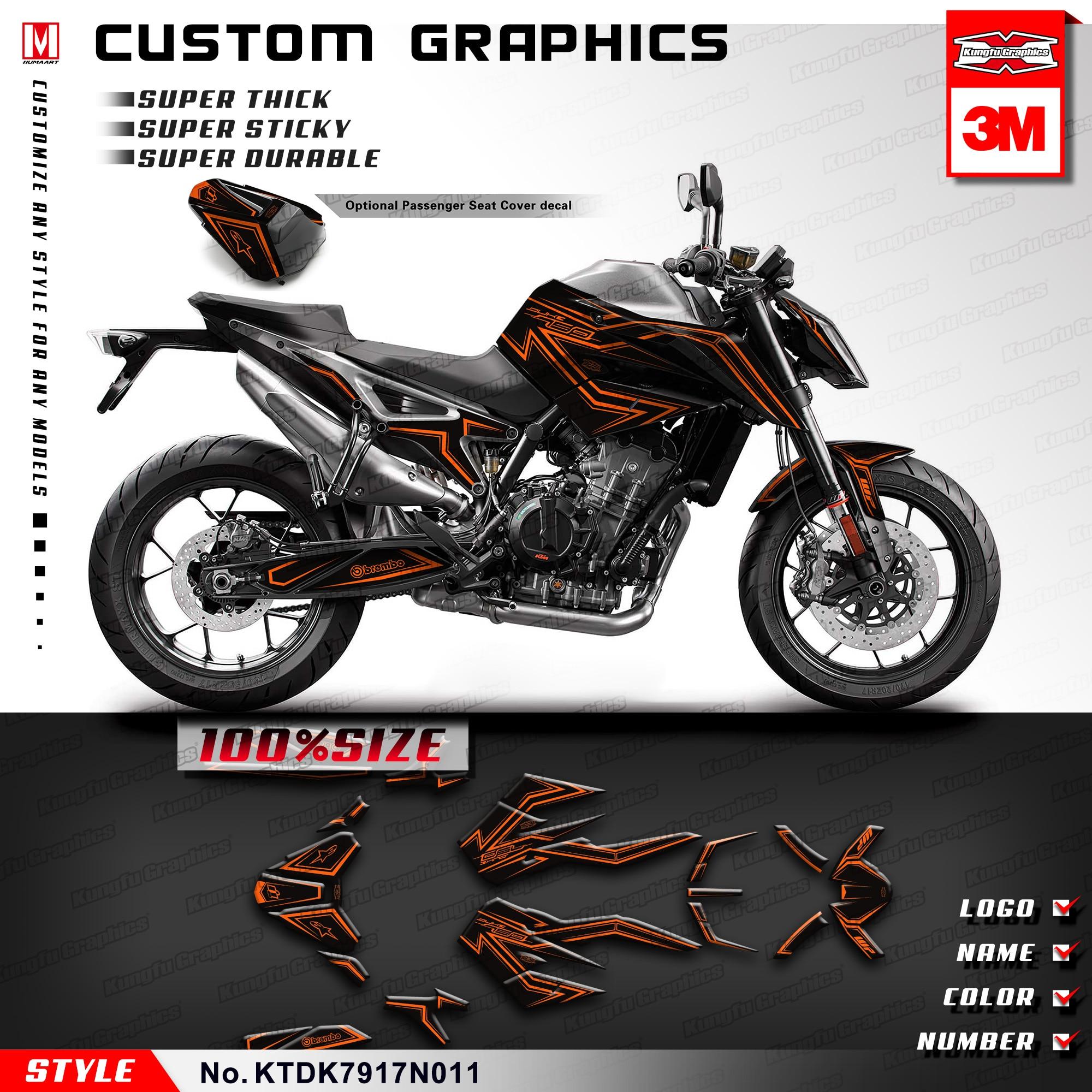 KUNGFU GRAPHICS Motorrad Sticker Set PVC Vinyl Custom Decal Black Orange for KTM DUKE 790 2017