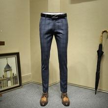 Мужская одежда брюки синий плед формальные бизнес осень зима smart casual slim fit Свадьба жениха одежда подарок на день отца