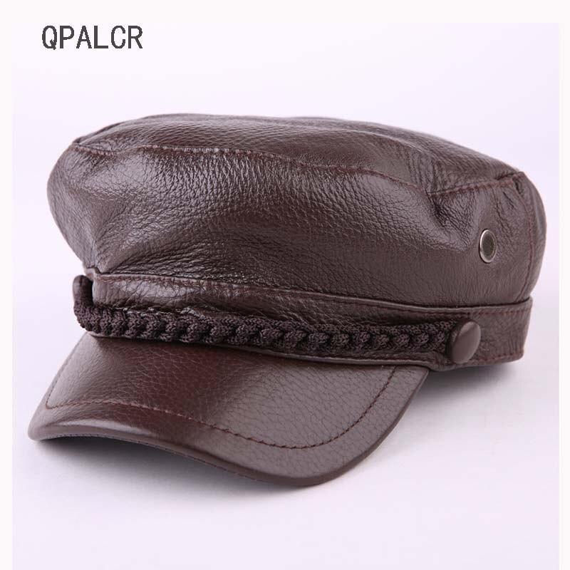 QPALCR militaire casquette chapeau femme hiver chapeaux pour femmes hommes dames armée Militar chapeau véritable cuir visière noir casquette marin chapeau os